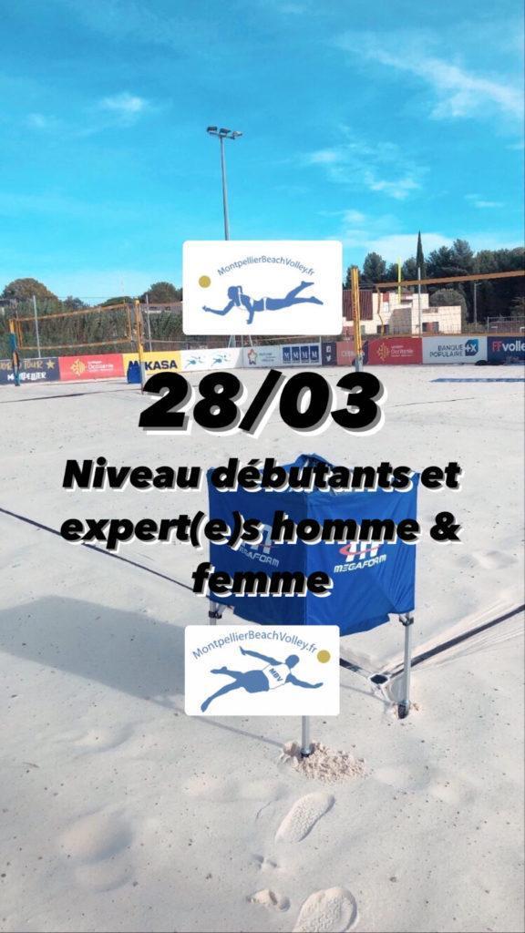 Read more about the article 28/03 NIVEAUX DÉBUTANTS ET EXPERTS HOMMES ET FEMMES !☀️
